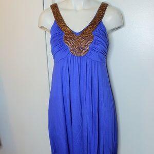Soprano Purple W Beaded Neck Knit Summer Dress M